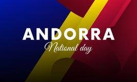 Banner of affiche van Nationale de Dagviering van Andorra Golvende Vlag Vector illustratie stock illustratie