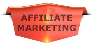 Banner affiliate marketing. Affiliate marketing 3D rendered red banner , isolated on white background Stock Images