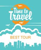 Banner for air travel with the aircraft in the sky royalty free illustration