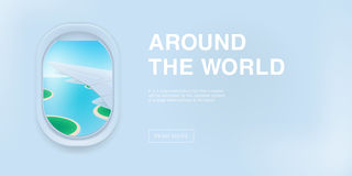 Banner with airplane window. cartoon flat illustration with place for text. Porthole, view on the plane wing. Banner with airplane window. cartoon flat stock illustration