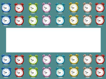 Banner alarm clock, coloured alarm clock retro green background. Pattern Stock Photo