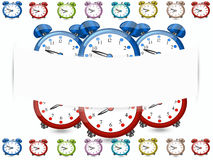 Banner alarm clocks, coloured alarm clocks  white background. Banner alarm clocks, coloured alarm clocks on white background,cartoon Royalty Free Stock Photo