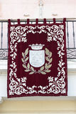 Banner of Alcala de Henares. Banner with the shield of the city of Alcala de Henares royalty free stock photography