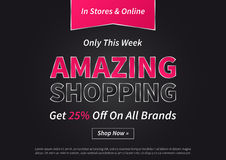 Banner Amazing Shopping vector illustration on black background Stock Photos