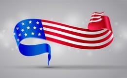 Banner with american flag ribbon. USA flag symbol. 4 July Royalty Free Stock Image