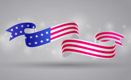 Banner with american flag ribbon. USA flag symbol. 4 July Stock Image