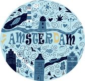 Banner of Amsterdam city. Banner of Amsterdam city in flat line trendy style. Amsterdam city line art. All buildings separated and customizable royalty free illustration