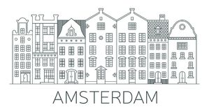 Banner of Amsterdam city in flat line style. Amsterdam line art. European old town. Dutch city landscape. Flat design style Stock Photography