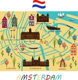 Banner of Amsterdam city. Banner of Amsterdam city in flat line trendy style. Amsterdam city line art. All buildings separated and customizable stock illustration