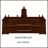 Banner of Amsterdam city. Banner of Amsterdam city in flat line trendy style. Amsterdam city line art. All buildings separated and customizable vector illustration