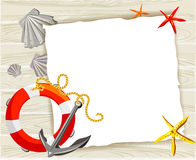Banner with an anchor, buoy and shells on a wooden background Royalty Free Stock Photo