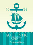 Banner with anchor and sailing boat Royalty Free Stock Images
