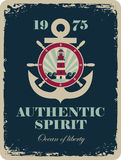 Banner with an anchor and a ship steering Royalty Free Stock Photography