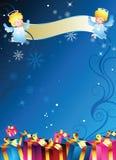 banner anioła pudła prezent ilustracja wektor