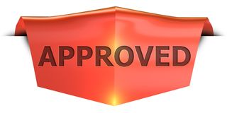 Banner approved. Approved 3D rendered red banner , isolated on white background Royalty Free Stock Photo