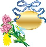 Banner as a pendant and a bouquet of flowers Stock Images