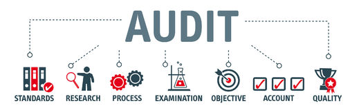 Banner Audit concept  illustration. Audit concept. Banner with keywords and icons Stock Photo