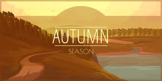 Banner with autumn landscape Stock Image