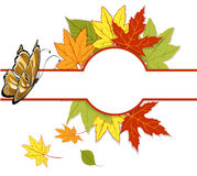 Banner with autumn leaves and a butterfly Royalty Free Stock Images