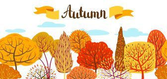 Banner with autumn stylized trees. Landscape seasonal illustration Stock Photography