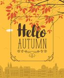 Banner with autumn urban scape and inscription. Vector urban landscape in retro style on the fall theme with the words Hello autumn and autumn tree on a Royalty Free Stock Photo