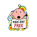 Banner with baby and kids eat free on it illustration. In colorful Royalty Free Stock Photos