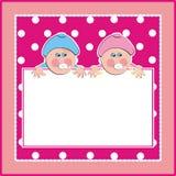 Banner, babyjongen en babymeisje, creatieve kaart, vectorillustratie royalty-vrije illustratie