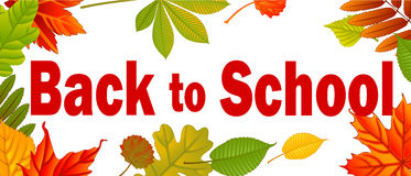 Banner Back to school. Autumn background with leafs. Vector illustration Stock Photos