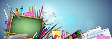 Banner Back To School. With Blackboard And Supplies vector illustration