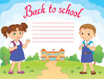Banner back to school boy girl pupil lettering logo vector Stock Images