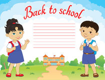 Banner back to school boy girl pupil lettering logo vector Royalty Free Stock Images