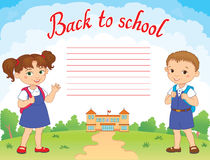 Banner back to school boy girl pupil lettering logo vector. Illustration Royalty Free Stock Photography
