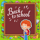 Banner back to school boy pupil lettering logo vector Stock Photography