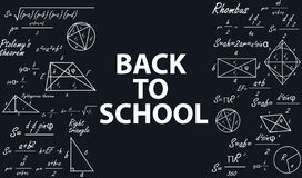 Banner back to school with geometric figures on a chalkboard. stock illustration