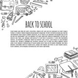 Banner back to school tools sketch icons design illustration. Royalty Free Stock Photo