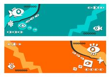 Banner,new,background - abstract, ethnic, fish, eyes, blue background , orange background, stylish, stylized, vector, illustration. Banner, background - abstract vector illustration
