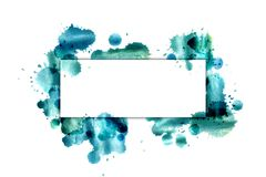 The banner on the background of blue splashes of watercolor. Stock Photography