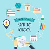 Banner, background, concept from the school and education icons. Back to scholl. Flat design.  Royalty Free Stock Image