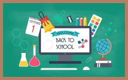 Banner, background, poster from the school and education icons. Back to school. Flat design.  Royalty Free Stock Photography