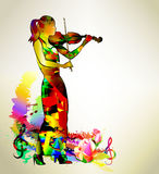 Banner background with violinist Royalty Free Stock Images