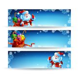 Banner with a bag of Christmas gifts Royalty Free Stock Images