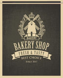 Banner for bakery shop with mill and ears Stock Images