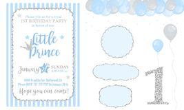Blue and silver prince party decor. Cute happy birthday card template elements.  Glitter texture. Gloss effect. Banner with balloons. Birthday party and boy Royalty Free Stock Photography