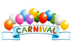 Banner with balloons and carnival word Royalty Free Stock Photo