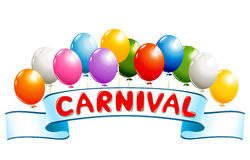 Banner with balloons and carnival word Stock Photos