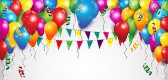 Banner Balloons and Flags. Flags Balloons and Confetti for Parties Birthday with space to insert your text-transparency blending effects and gradient mesh-EPS 10 Stock Image