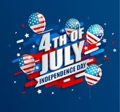 Banner with balloons for Independence day. Banner with balloons for Independence day of the usa. Template for your design. greeting card, flyer, poster for 4th Royalty Free Stock Image