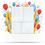 Banner Balloons Letters Folded Checked Paper Stock Images
