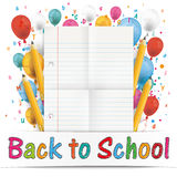 Banner Balloons Letters Folded Lined Paper Back To School Stock Image