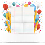 Banner Balloons Letters Folded Lined Paper Royalty Free Stock Photo